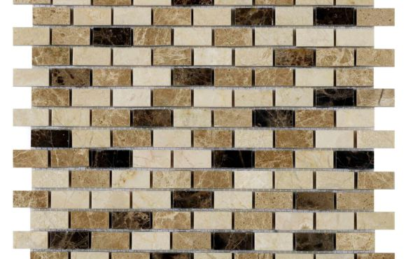 Coffee Polished Mix Marble mosaic 15x32mm