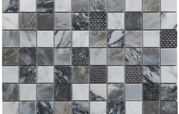 Polished Marble and Resin Mosaic 23mmx23mm
