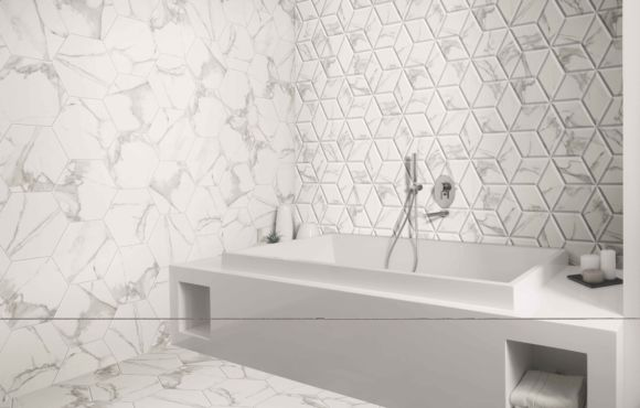 Large Hexagon Marble effect 330x285x9mm
